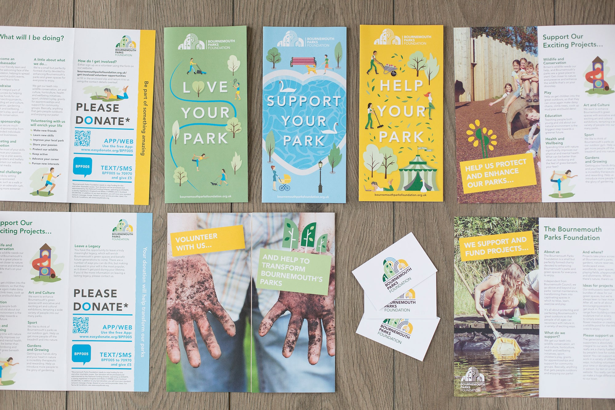 Bournemouth Parks Foundation branding and print